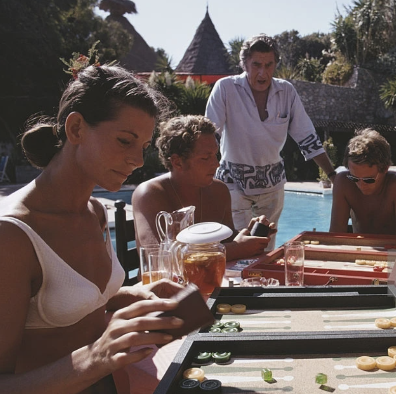 Backgammon Players at the Marbella Club - Slim Aarons