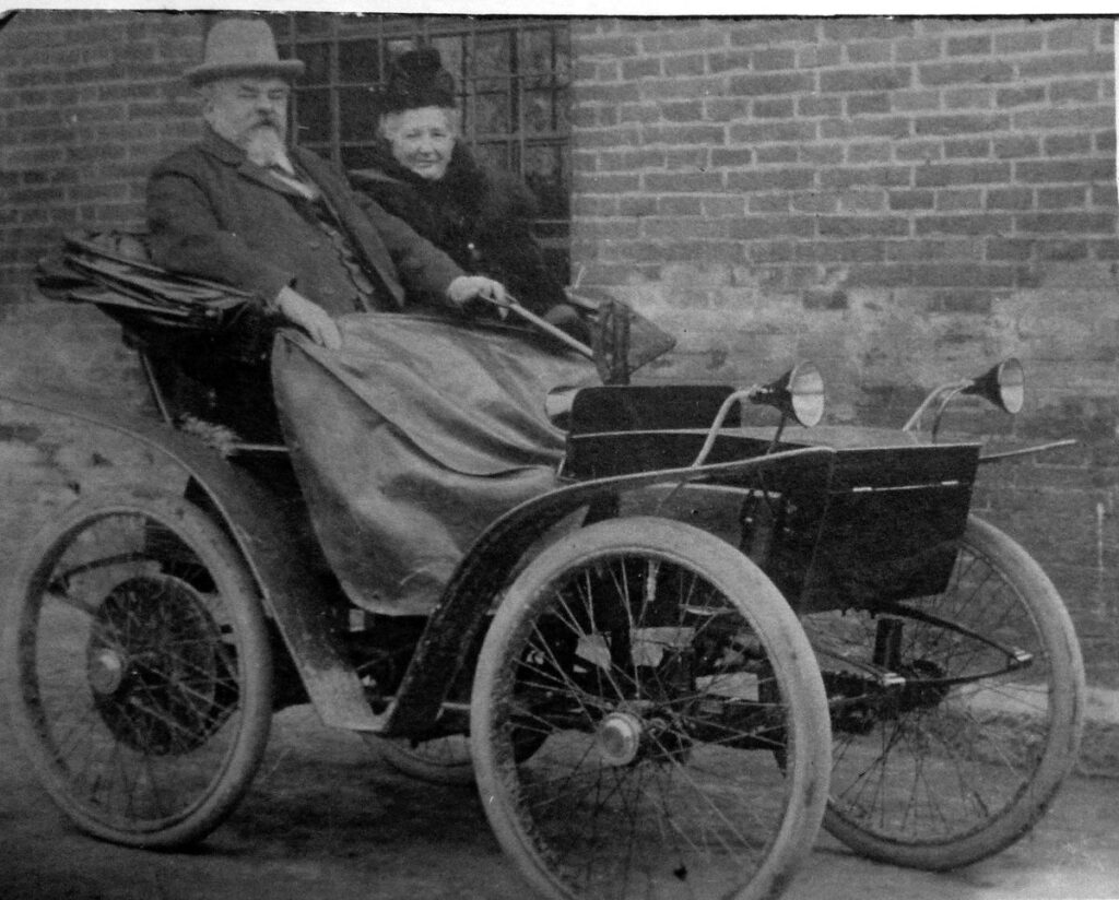 Andreas Flocken with his wife aboard the first ever electric car - Electric Car