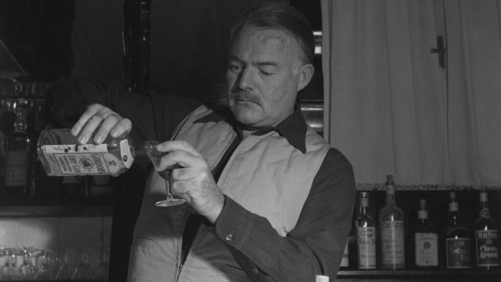 'Papa' Hemingway making G&T's in Spain