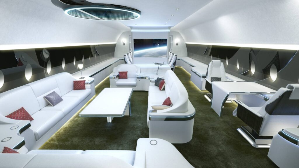 An interior render of the German Chancellor's luxuriously modern new plane