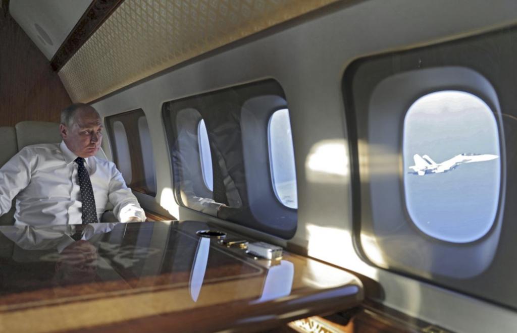 "Russian Premier Vladimir Putin aboard the ""Flying Kremlin"""