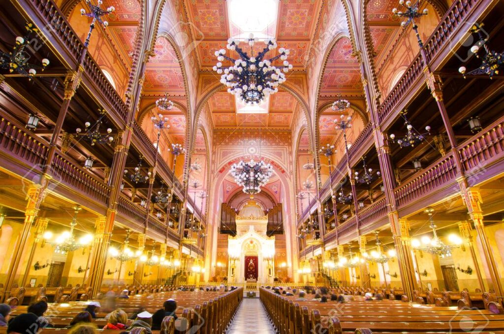 Interior of the Great Synagogue in Dohany Street. The Dohany Street Synagogue or Tabakgasse Synagogue is the largest synagogue in Europe