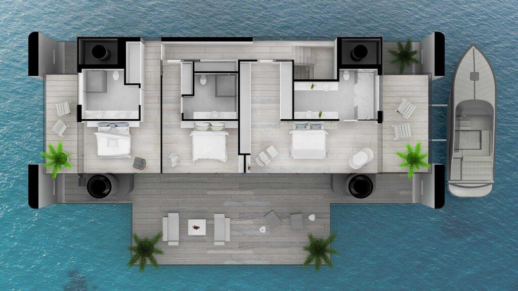 Example floor plan - featuring upper deck bedrooms and terraces