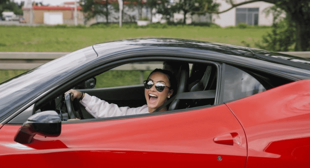 Demi Lovato is one of the many celebrity fans of the Italian car maker - seen here in her Ferrari California
