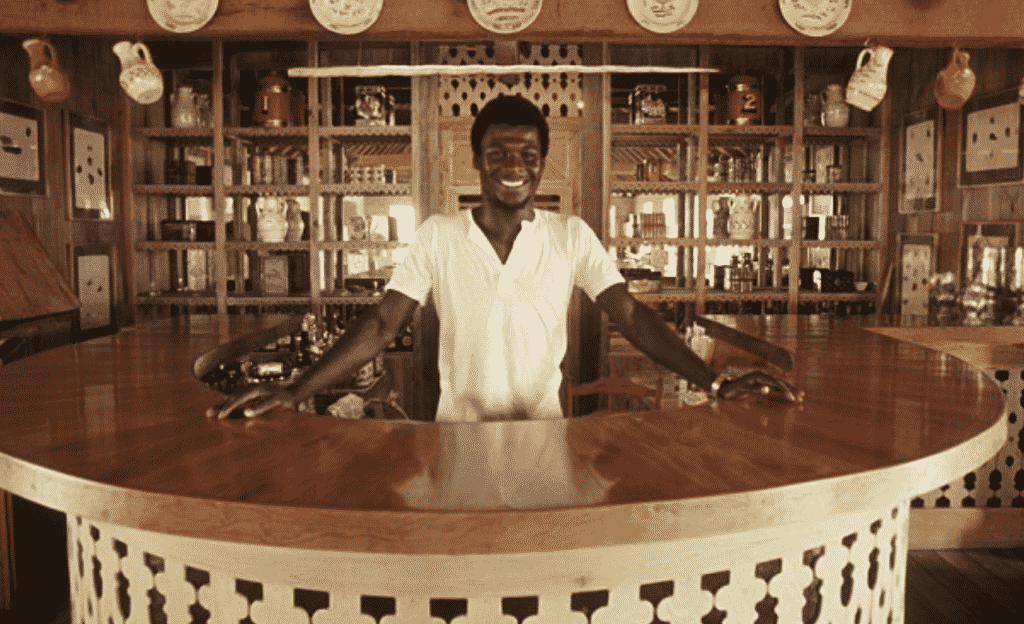 A young Basil commanding his bar