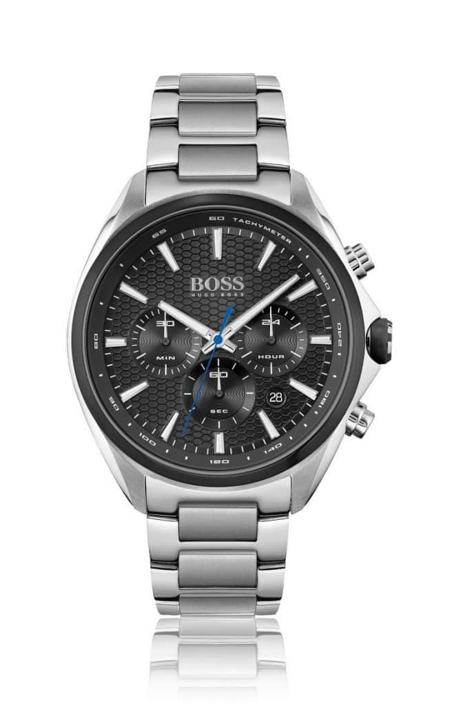 BOSS Link Bracelet Chronograph Watch With Honeycomb Dial — Luxury Watches